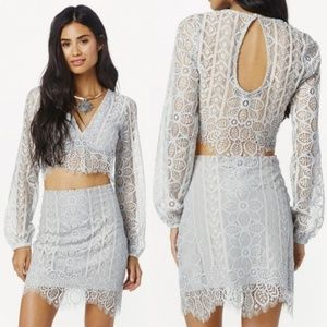For Love and Lemons Lyla Lace long sleeve crop top